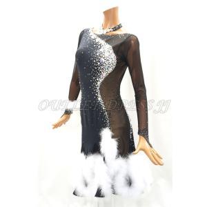 社交ダンス・ダンス衣装 インポート品 ヨーロッパ製 L398 ブラック×ホワイト羽 Mサイズ|dancedress-jj