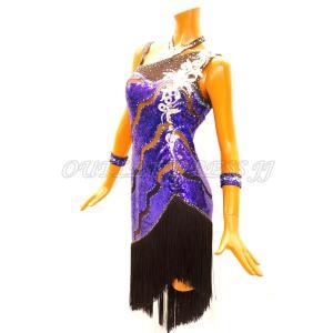 社交ダンス・ダンス衣装 インポート品 ヨーロッパ製 L400 ブラック×サファイアスパン Mサイズ|dancedress-jj