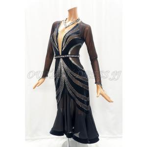 社交ダンス・ダンス衣装 インポート品 ヨーロッパ製 L401 ブラックベルベットロング Mサイズ|dancedress-jj