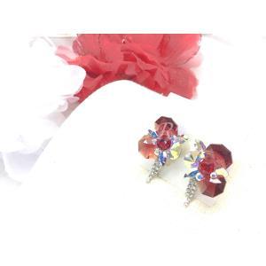 社交ダンス・ダンス衣装 アクセサリー  ac9210001808494 ヘキサゴン×チェーンイヤリング レッド 149|dancedress-jj