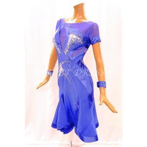 社交ダンス・ダンス衣装 インポート品 ヨーロッパ製 一点物 L407 サファイア Mサイズ|dancedress-jj