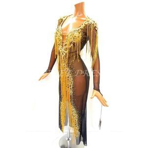 社交ダンス・ダンス衣装 インポート品 ヨーロッパ製 一点物 L406 ブラック×ゴールドフリンジ Sサイズ|dancedress-jj
