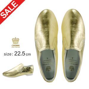 22.5cm クラウン シューズ ダンス ジャズ レディース レザー 金 ゴールド CROWN 格安 安い アウトレットセール SALE|danceshoes