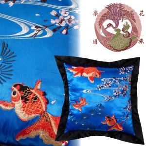 桜と金魚刺繍クッション 花旅楽団 ESC-003 和柄|dandara