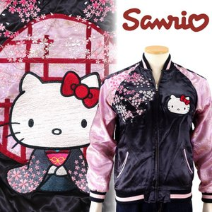 和装ハローキティと桜ジャガード袖スカジャン HKSJ-004 サンリオ × スイッチプランニング|dandara