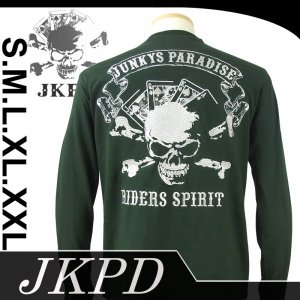 Junky's Paradise JLT-552 トランプスカル柄刺繍長袖Tシャツ 和柄 dandara