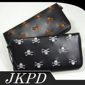 Junky's Paradise JWL-002 スカル総柄刺繍牛革ロングウォレット|dandara