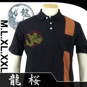 龍桜  RPS-403  獅子鍾馗柄刺繍切り替え半袖ポロシャツ dandara