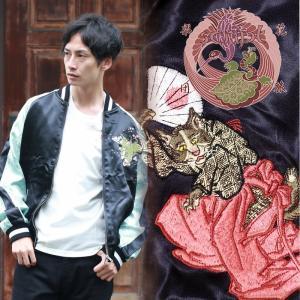 桜に平安猫刺繍スカジャン 花旅楽団 SSJ-703 和柄|dandara