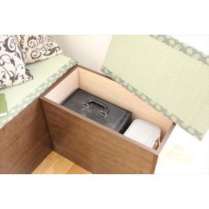 畳 ベンチ スツール 玄関 窓下 収納ボックス 国産  120cm幅 ブラウン色|danksy|04