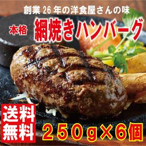 ハンバーグ 専門店【網焼きハンバーグ 250g×6】送料無料 ギフト お取り寄せグルメ|danranya