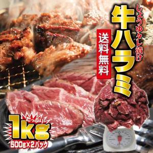 送料無料 味付牛ハラミ 1kg 冷凍品(500g×2袋) サ...
