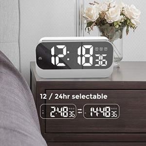 QFLY LEDデジタル目覚まし時計HDミラー目覚まし時計サイレント発光装飾電子時計USBプラグイン...