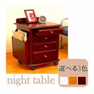 サイドテーブル 木製 ナイトテーブル 木製 サイドチェスト 北欧 寝室収納 モダン ラック 省スペース リビング ダイニング キャスター付の写真