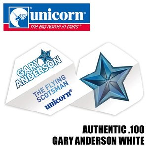 フライト unicorn AUTHENTIC .100 GARY ANDERSON WHITE(ポスト便OK/2トリ)|dartsshoptito