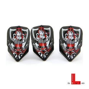 L-Style×DYNASTYコラボフライト ブラック×ホワイト (ポスト便OK/3トリ)|dartsshoptito