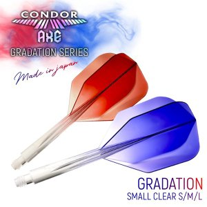 ダーツ フライト コンドルアックス グラデーション スモール CONDOR AXE Gradation Small 透明 硬コン シャフト一体型 (ポスト便OK/5トリ)|dartsshoptito