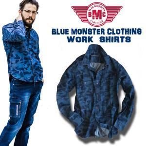 BMC デニムシャツ カモデニム カモフラ シャツ ワークシャツ メンズ bmc-bmst01 作業服 作業着|darumashouten