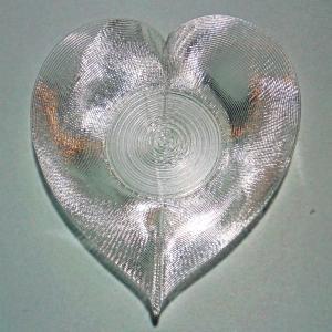 3Dデザイン豆皿 小皿 3D らせん印刷 かる〜い ハート形豆皿 タイプ 06 (輝く 3D プリント透明豆皿)|dasyn
