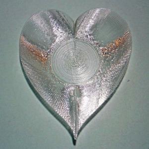 3Dデザイン豆皿 小皿 3D らせん印刷 かる〜い ハート形豆皿 タイプ 08 (輝く 3D プリント透明豆皿)|dasyn