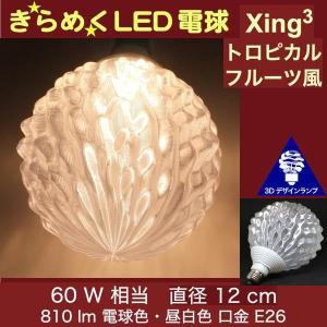 3Dデザイン電球 Xing3 60W相当 サイズ12cm おしゃれに きらめき輝く 電球色 昼白色 裸電球 口金E26 大きい 大形 大型ボール球型LED電球 シーリングライト用|dasyn