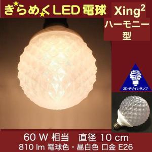 3Dデザイン電球 Xing2 60W相当 サイズ10cm おしゃれに きらめき輝く 電球色 昼白色 裸電球 口金E26 大きい 大形 大型ボール球型LED電球 シーリングライト用|dasyn