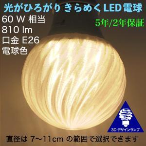 3Dデザイン電球 おしゃれに きらめくボール球型 LED電球 (ストライプつき,白熱灯 60W 相当,直径 7〜1 cm 9W 電球色/昼白色 口金 E26 店舗・イベントにも)|dasyn