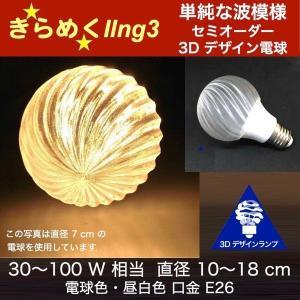3Dデザイン電球 おしゃれに きらめくボール球型 LED電球 (ストライプつき,白熱灯 100W 相当,直径 9〜15cm 15W 電球色/昼白色 口金 E26 店舗・イベントにも)|dasyn