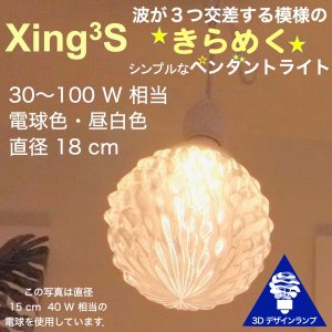 100W相当 1灯ペンダントライト 直径 18cm 3Dデザイン電球 Xing3 付き おしゃれに きらめく あかり オリジナル透明ランプシェード 電球色 昼白色|dasyn