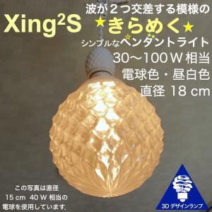 100W相当 1灯ペンダントライト 直径 18cm 3Dデザイン電球 Xing2 付き おしゃれに きらめく あかり オリジナル透明ランプシェード 電球色 昼白色|dasyn