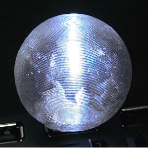 3Dデザインランプ 地球儀型 USB ミニライト 白色 (3D 印刷シェードつき) dasyn