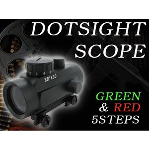 スコープ ドットサイトスコープ 1x30 5段階調節 電動ガン スコープRD1X30 フルセット ライフル p90 g36 m4 スコープ スナイパーライフル ショット|daybyday