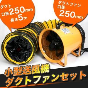 送風機 本体とホースセット ダクトホース5m付 250mm ファン 送風機本体(換気・送風・排気)SHT-250-BP