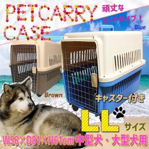 ペットキャリーケース LLサイズ 中型犬・大型犬用 ハードタイプ キャスター付き 81×61×56cm 運搬用車輪付 1004|daybyday