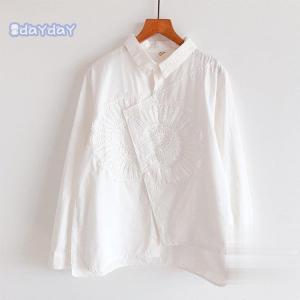ブラウス シャツ 刺繍 トップス レディース 前開き 長袖 柄 綿 コットン ベーシック デザイン ...