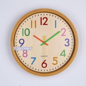 木製掛け時計 自然風 シンプル 北欧 連続秒針 静音 壁掛け時計 シンプル モダン フレームなし イ...