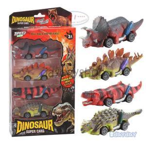 恐竜のおもちゃのリターンカー、4個の恐竜のおもちゃの車、6歳以上の男の子のおもちゃ、プルバックカー ...