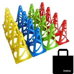 陸上競技・サッカーやフットサルなどの練習に使えるマーカーコーン。 16個セットは(赤4・青4・黄色4...