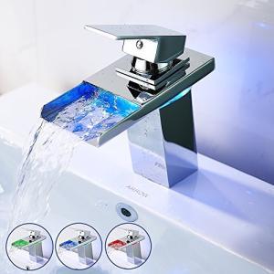 Wrightjp LED洗面水栓 LED洗面蛇口 3色LEDバス蛇口 蛇口 水栓 洗面台 洗面ボール用 手洗水栓 水流発電 混合水栓 冷熱|days-of-magic