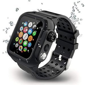 【2019新型】Apple Watch series4バンド Apple Watch液晶保護フィルム カバー 一体式 44mm対応 運動型 IP65防水 防塵 耐衝撃|days-of-magic