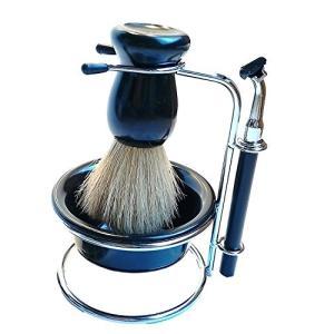バーバー セット! シェービング セット ブラシ スタンド カップ カミソリ 髭剃り ヒゲ剃り 理容 床屋 美容院|days-of-magic