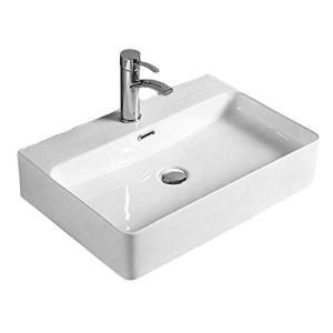 洗面ボウル Lifinsky 洗面台 白陶器製 手洗いボウル ベッセル式 手洗器 排水金具付き 610*415*130mm|days-of-magic