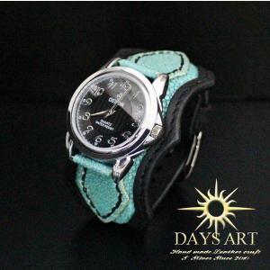 『優勝セール対象商品』牛革ベルト×スティングレイ エメラルドフラット加工エイ皮 レザーブレスレットウォッチ ブラック 腕時計 メンズ 本|daysart