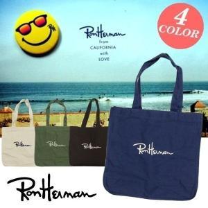 ロンハーマンのブランドロゴ刺繍入りのビッグキャンバストートバッグ  ロゴはしっかりとした刺繍で施され...