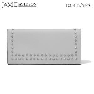 J&M DAVIDSON 小銭入れ付き二つ折りスタッズ長財布 パウダーグレー SMALL GRAIN LEATHER NEW STUDS WALLET 10081n 7470 9060 POWDER GREY ジェイアンドエム|daytripper