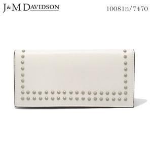J&M DAVIDSON 小銭入れ付き二つ折りスタッズ長財布 ニューホワイト SMALL GRAIN LEATHER NEW STUDS WALLET 10081n 7470 0150 NEW WHITE 白 ジェイアンドエム|daytripper