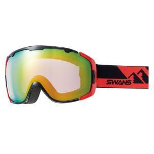 SWANSスノーゴーグル 150-MDHS  BK/R色 フレーム/ブラック×レッド 、レンズ/オレンジミラー×ブライトピンク|dazzle-sp