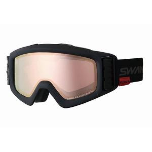 SWANSスノーゴーグル HELI-MPDTBS-N  MBK色 フレーム/マットブラック 、レンズ/パステルイエローミラー × 偏光ピンク|dazzle-sp