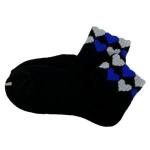 np スポーツソックス レディース トップハート柄 カラー/ブラック(ブルー×シルバー) フリーサイズ(23〜25cm)|dazzle-sp