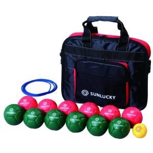 SRP-530 キャンペーン価格 在庫限り ペタンク 室内用ソフト球Cセット ボール12個 (レッド6個、グリーン6個) ビュット/1 簡易サークル/1 ケース付き|dazzle-sp